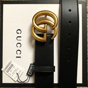 New Gucci GG Gold Buckle Double G Leather Belt